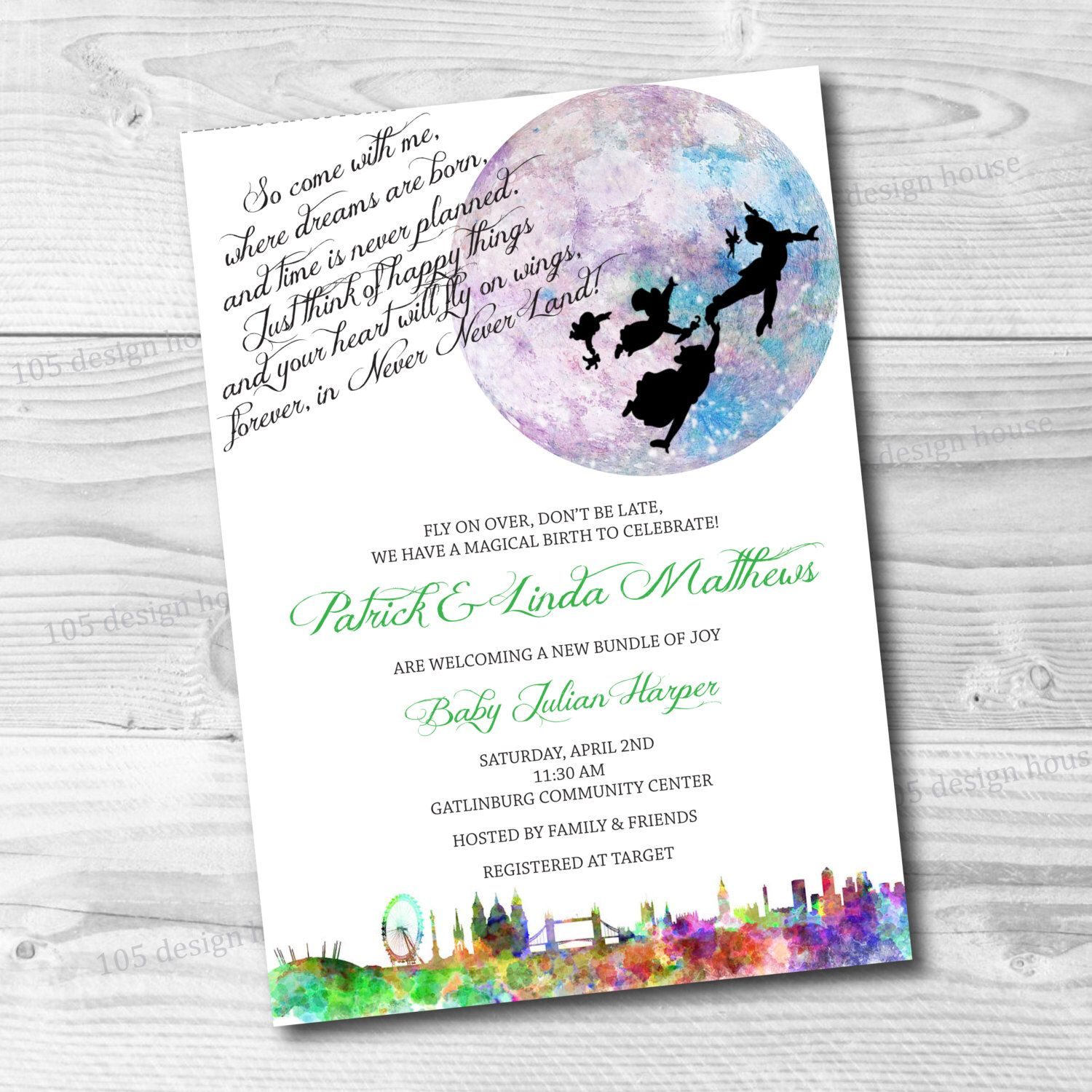 printable front back peter pan birthday peter pan baby shower