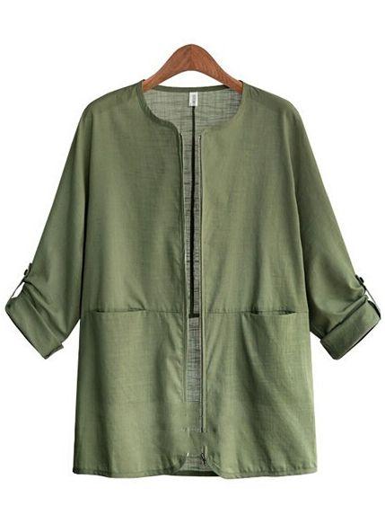 Army Green Round Neck Pockets Coat