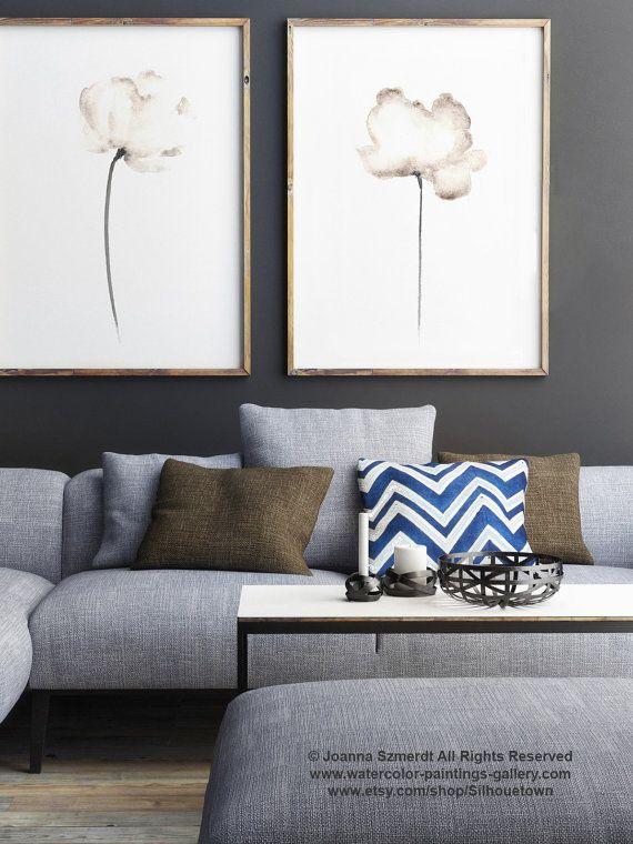 Set of 2, Two Poppies Art Print, Abstract White Flower, White Poppy - decoracion de paredes