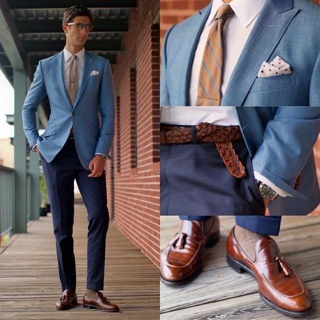 light blue jacket, dark blue pant, white shirt, tan w blue ...