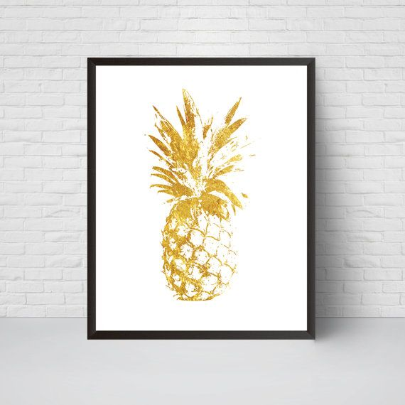 Gold Pineapple Wall Art Print, Printable Poster, Modern room decor ...