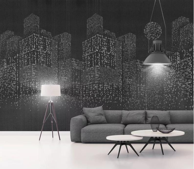 3d Black Background Pixel Grid Building Wallpaper Removable Etsy Wallpaper Traditional Wallpaper Wall Murals