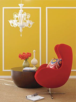 E Up Your Room With Red Via The Nest Chair Mustard Walls White Chandelier Interior Design Living Home Decor