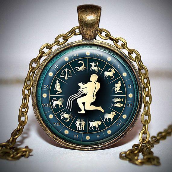 zodiac aquarius pendant  zodiac aquarius necklace  by Jaylos, $8.00