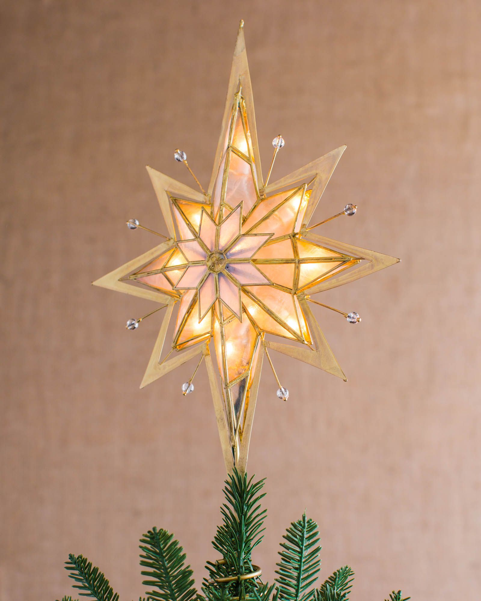 Shiny Two-Tone Star Christmas Tree Topper Decoration