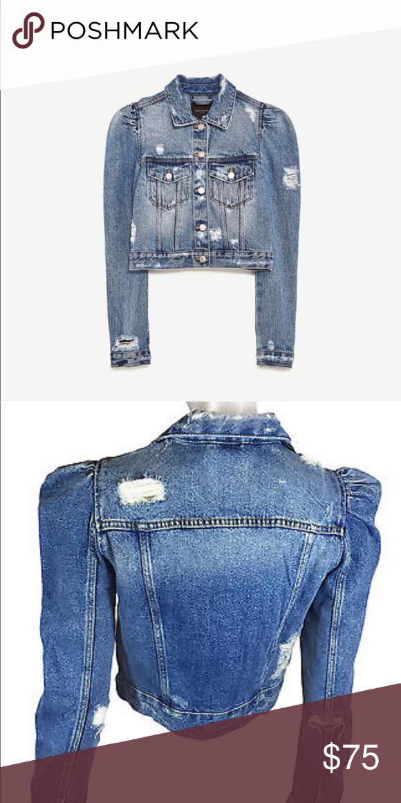 5165b6266e508 Zara Denim jacket puff sleeves Crop distressed denim jacket Zara Jackets    Coats Jean Jackets
