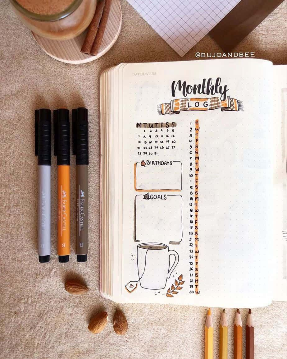31+ Stunning Bullet Journal Monthly Log Inspirations