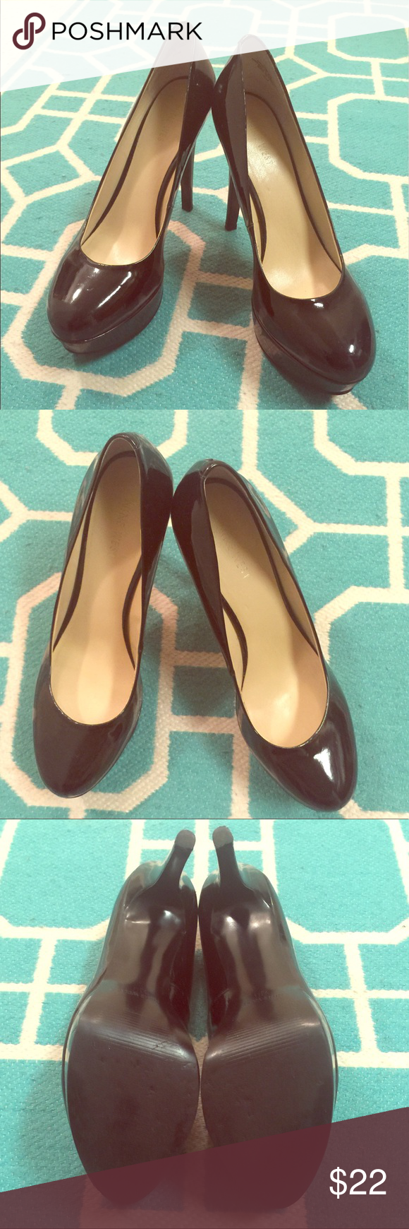 "✨HP✨ Cute Nine West Black Heels EUC shinny black heels. A few small scuffs, see pictures. Heels measures approx. 4.5"". No box. Bundle for a discount! Nine West Shoes Heels"