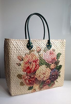 Retro Vintage 1950s 1940s Style Floral Shopper Tote Straw Wicker Bag Unique Women S Handbags Clothes Shoes Accessori Wicker Bags Best Lunch Bags Bags