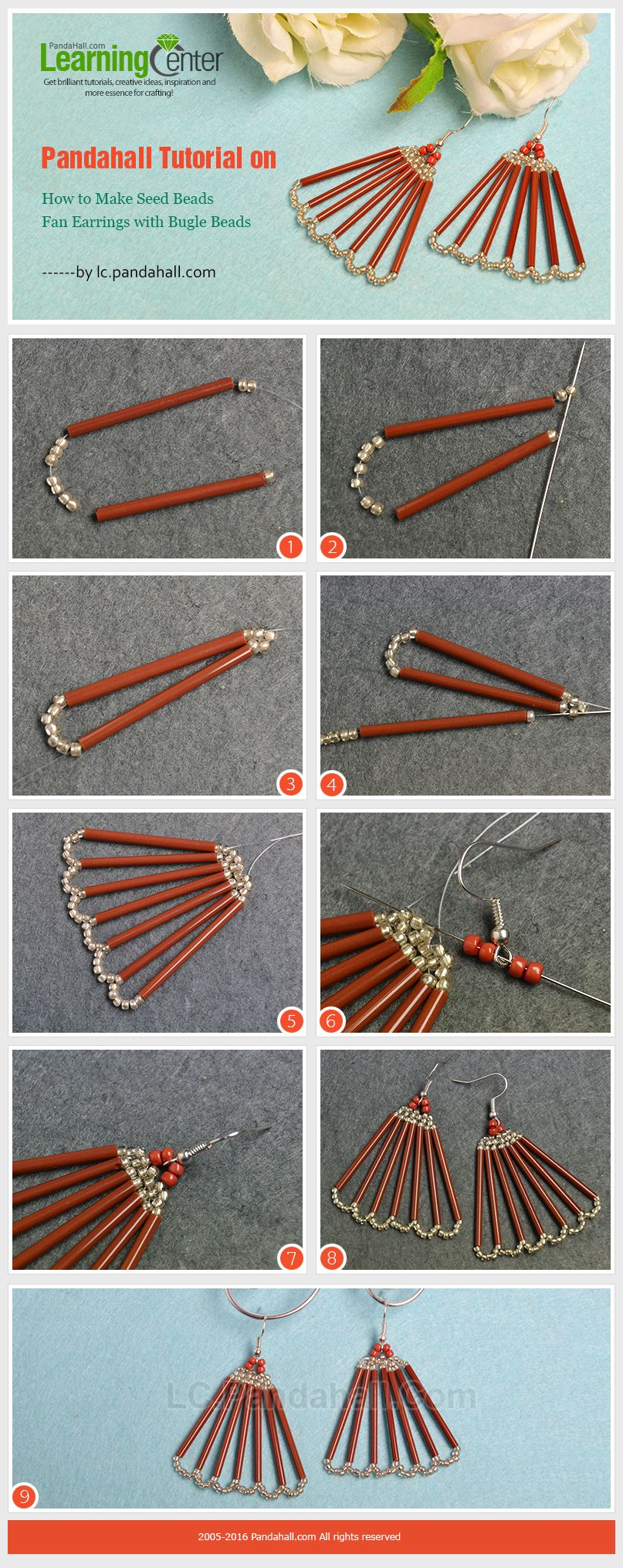 pandahall tutorial on how to make seed beads fan earrings with bugle beads jwewlry making. Black Bedroom Furniture Sets. Home Design Ideas