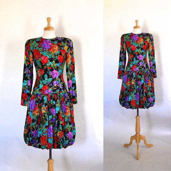80s Bubble Dress 80s Silk Dress Silk Floral Dress Drop Waist Dress 80s Party Dress 80s Vintage Dress 80s Floral Bubble Dress Vintage Clothing Online