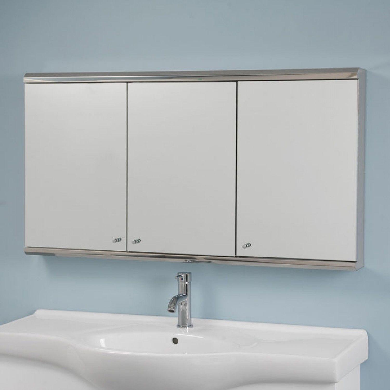 Cosmopolitan Stainless Steel Tri View Medicine Cabinet With Mirror 48 Medic Medicine Cabinet Mirror Medicine Cabinet With Mirror Bathroom Medicine Cabinet