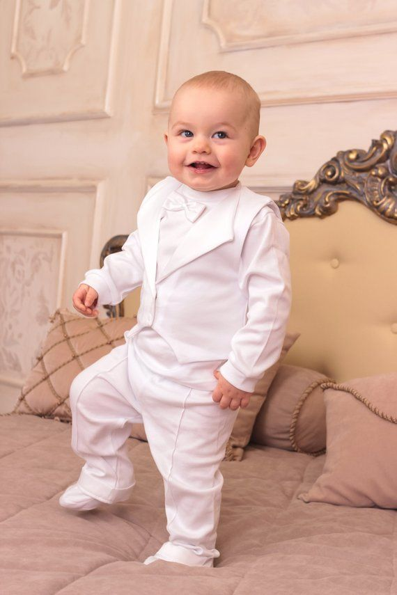 f38a30712fd8 baby boy baptism outfit christening cotton suit 3-piece set