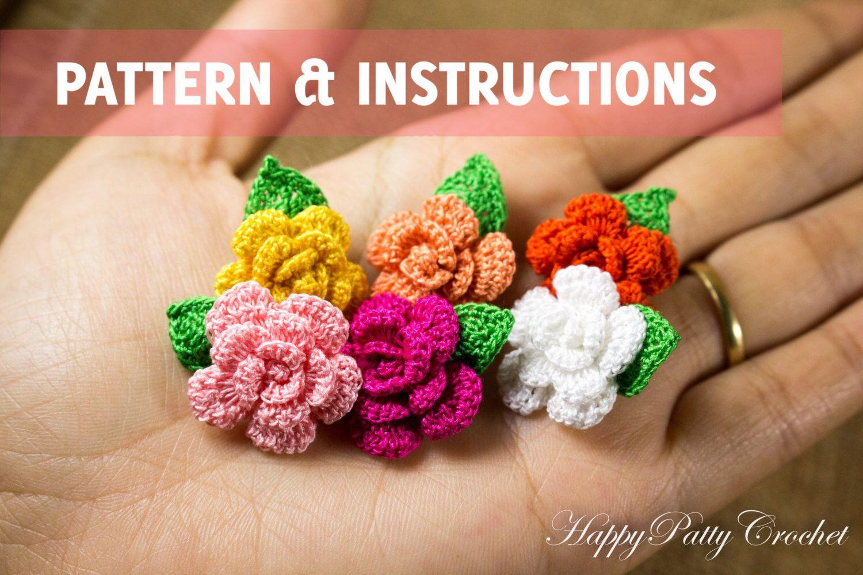 Crochet Mini Rose Pattern - Flower Applique Pattern - Easy Crochet Flower Pattern - Crochet Rose Pattern - Instant Download by HappyPattyCrochet on Etsy https://www.etsy.com/listing/210527477/crochet-mini-rose-pattern-flower