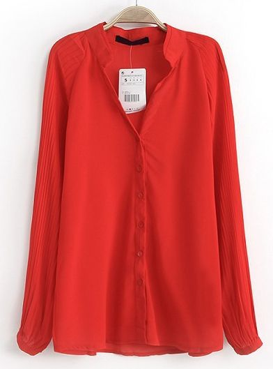 Red Stand Collar Long Sleeve Slim Blouse GBP£16.56