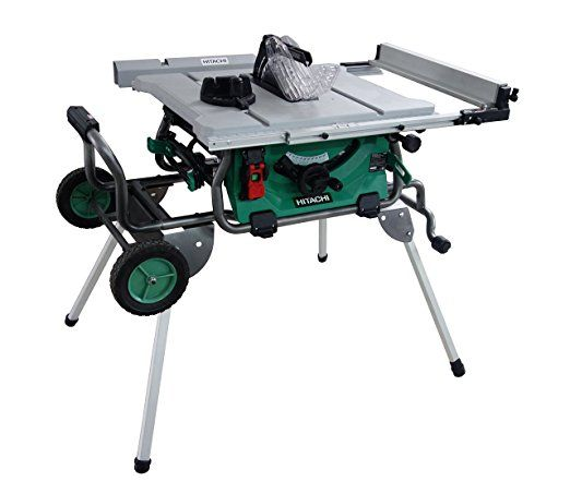 Hitachi C10rj 10 15 Amp Jobsite Table Saw With 35 Rip Capacity And Fold And Roll Stand Table Saw Port Jobsite Table Saw Portable Table Saw Best Table Saw