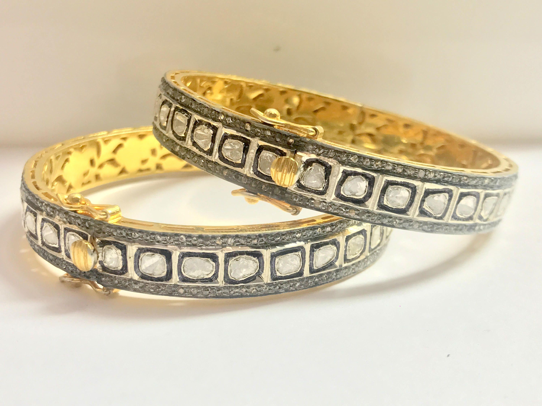 Victorian Jewelry Natural Rose Cut Diamond /& 925 Sterling Silver Bracelet