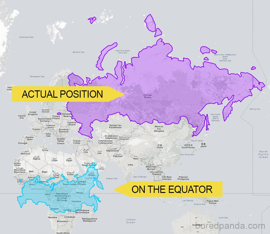 After seeing these 15 maps youll never look at the world the same russia on the equator is not a giant bear anymore gumiabroncs