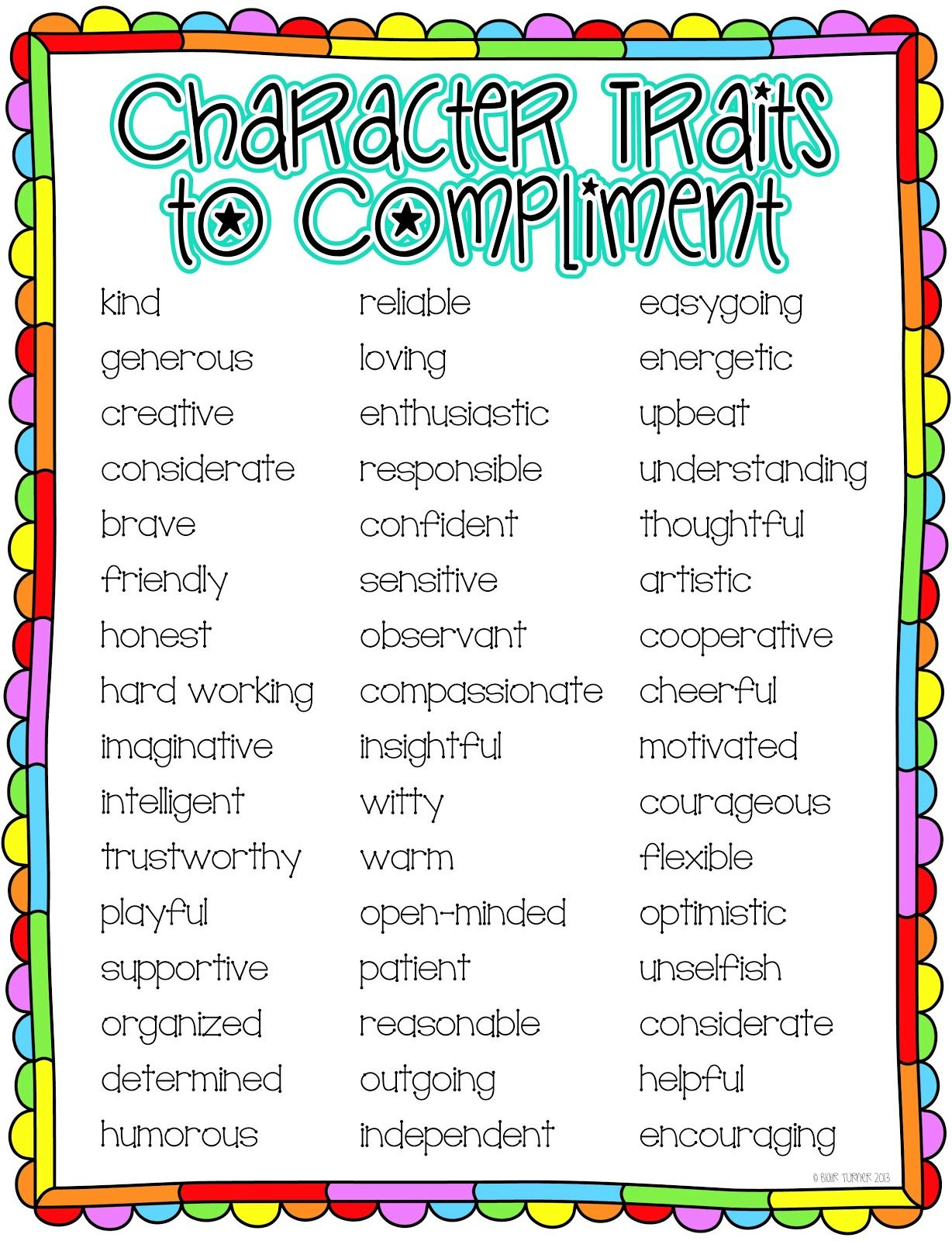 End Of The Year Class Compliments Character Trait List