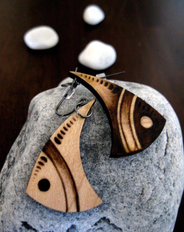 Wooden earrings bijoux pinterest wooden earrings pyrography