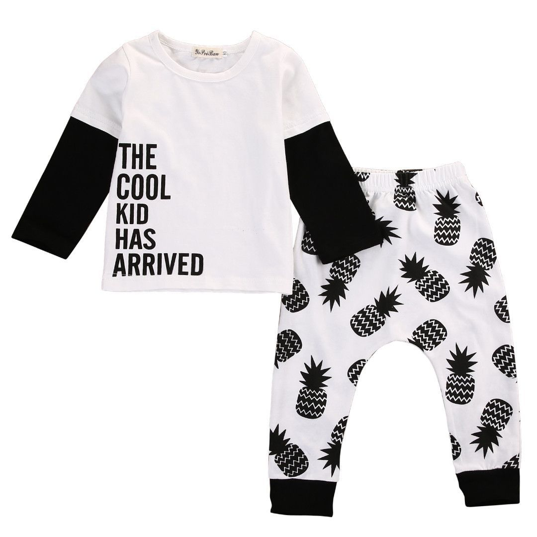949980f7c3 Pineapple Babies Clothing Set Cotton Newborn Baby Girl Boy Clothes Long  Sleeve Letter T-shirt Tops+Pants 2pcs Outfits