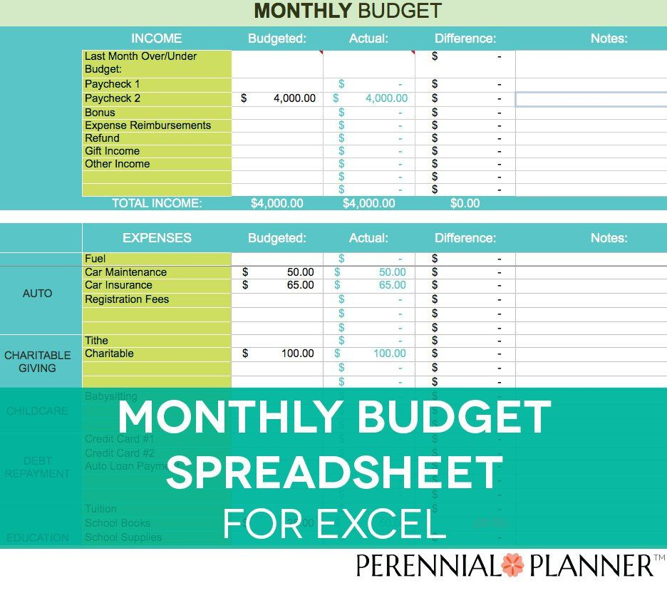 This Monthly Excel Budget Spreadsheet From Perennial Planner Will