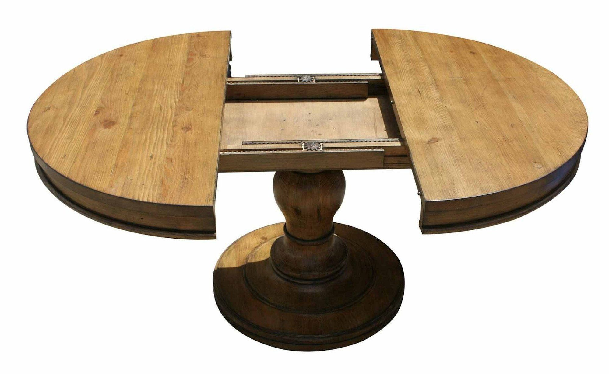 Westport Round Reclaimed Wood Extension Pedestal Table Dining
