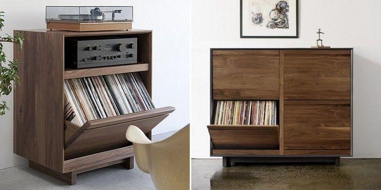 Rangement Vinyle Meuble Ikea En Bois Massif Avec Tourne Disque Tableau Decoratif Et Plante Verte Record Storage Record Storage Cabinet Vinyl Record Storage