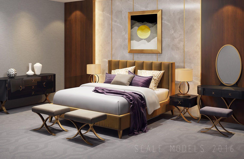 Bedroom interior setting luxury bedroom interior   d model  d architectural interior