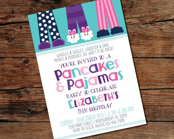 Printable pancakes and pajamas party invitation digital file printable pancakes and pajamas party invitation digital file print at home filmwisefo