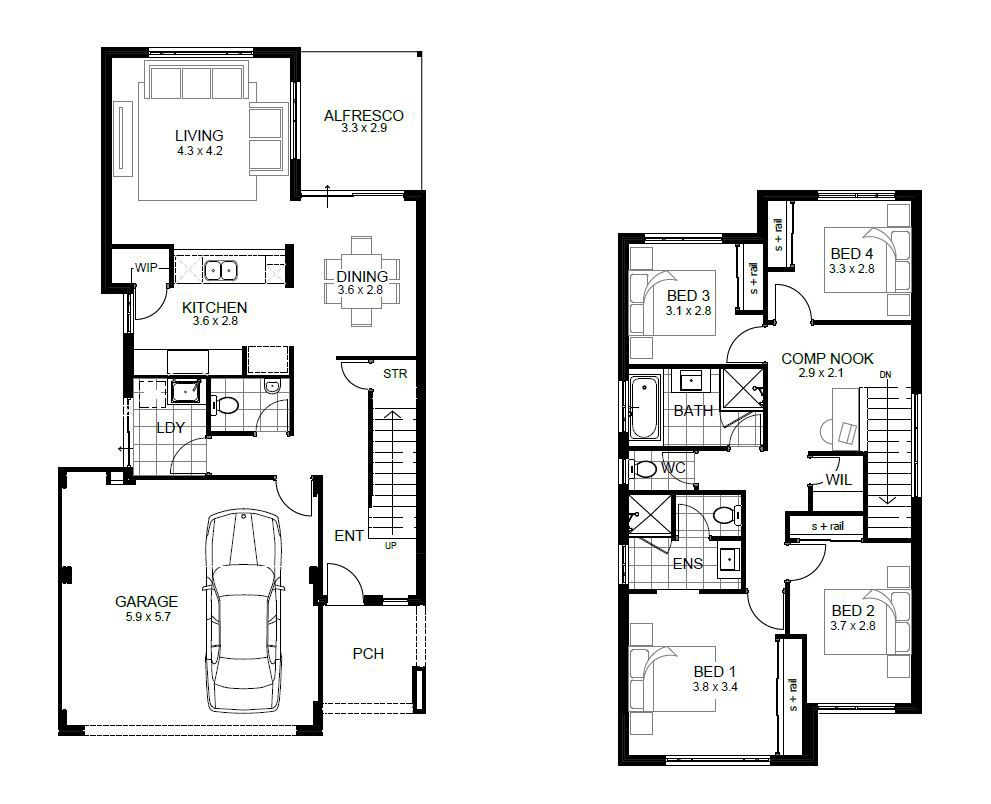 narrow house plan with garage two stories Google Search