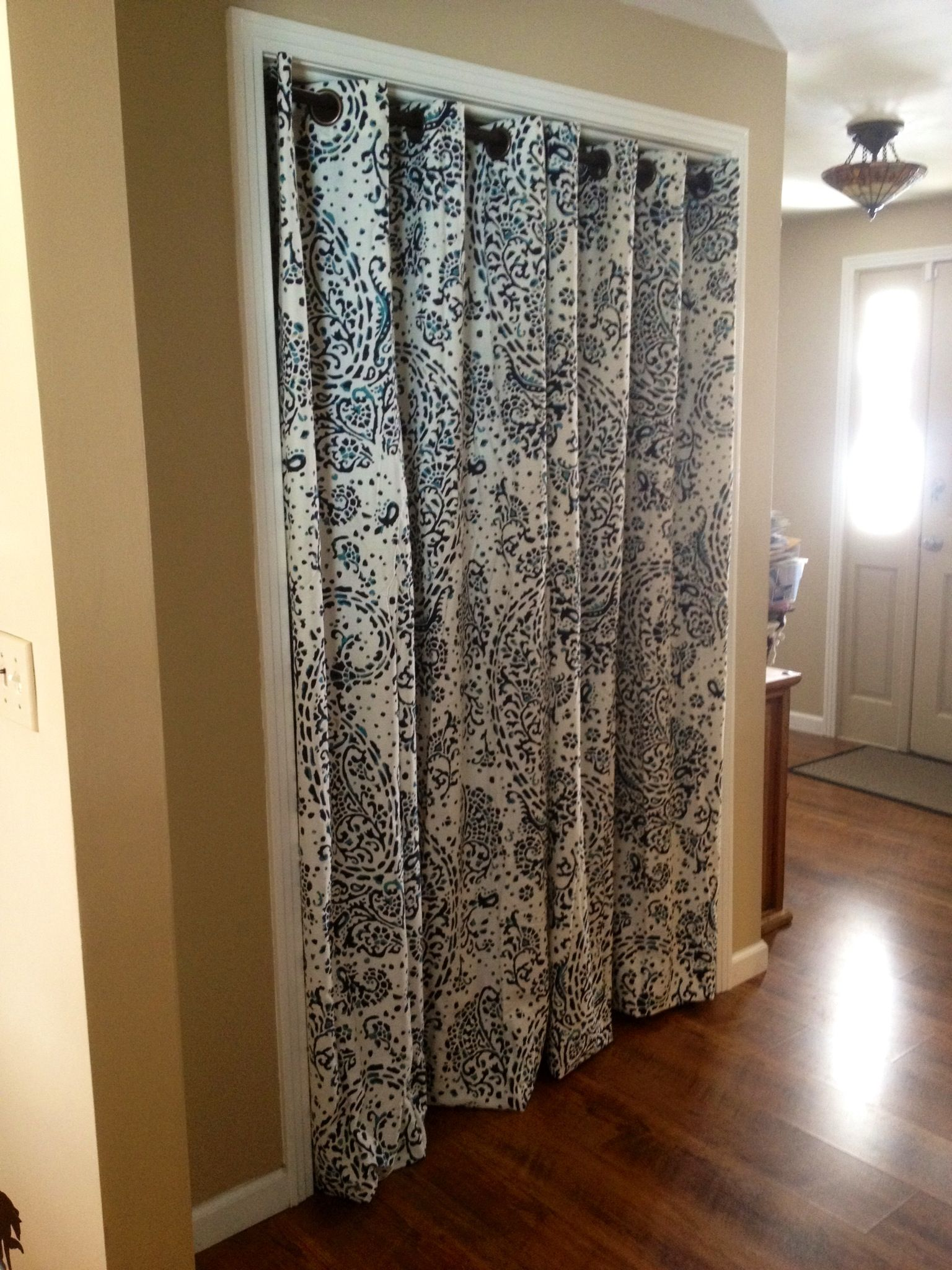 No more pinch y sliding closet doors  Hello  pretty curtains. No more pinch y sliding closet doors  Hello  pretty curtains