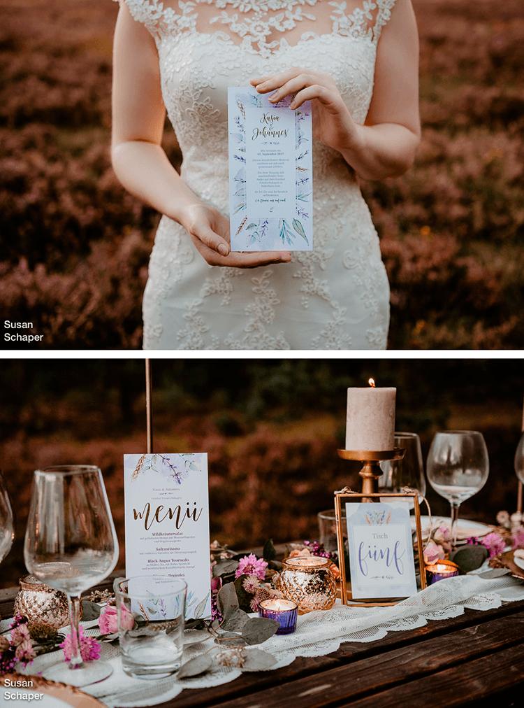 Vintage Hochzeitsinspiration In Der Heide Mit Hochzeitskarten Und