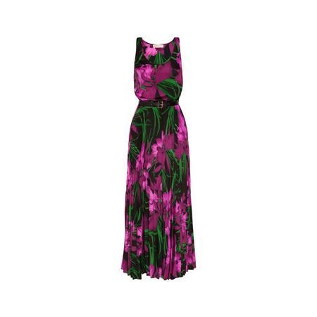 #DIY #FASHION MICHAEL Michael Kors Floral-print crepe maxi dress - Jungle-green, black and tonal-fuchsia floral-print crepe- Elasticated waistband, belt loops, detachable buckle-fastening black faux leather belt, accordion-pleated skirt- Slips on- 100% polyester;