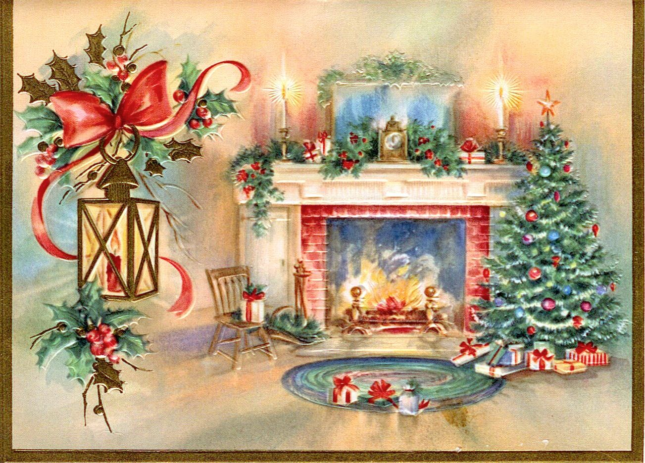 Vintage christmas card fireplace scene with tree vintage sweet christmas fireside kristyandbryce Gallery