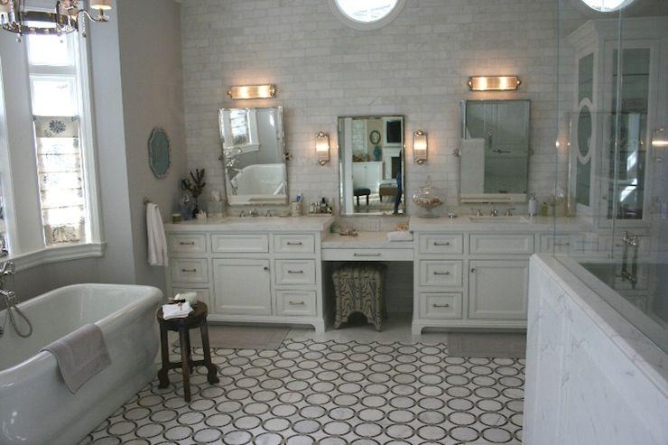 Geometric Marble Floor Transitional Bathroom Newport Harbour Home Tour Master Bathroom Vanity Elegant Bathroom Serene Bathroom