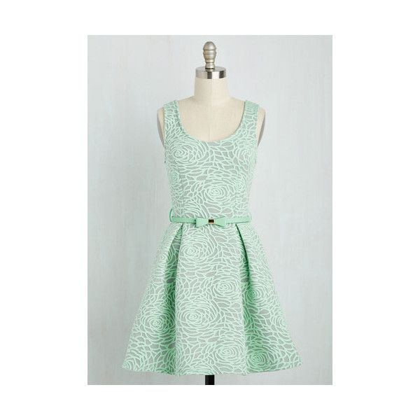 Short Length Sleeveless Fit & Flare Aglow with Gusto Dress (92 CAD) ❤ liked on Polyvore featuring dresses, apparel, fashion dress, mint, mint green dress, belted dress, print dress, green print dress and rose dress
