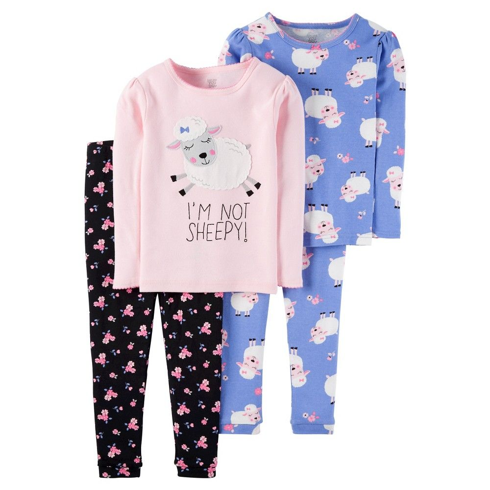 a33b72374 Baby Girls  4-Piece Snug Fit Cotton Pajama Set Sheep 12M - Just One ...