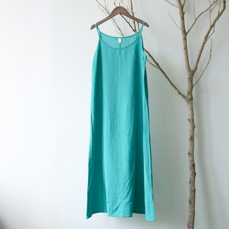 SERENELY Vestidos Summer Dress Solid Multi-Color Natural Silk Cotton Slips Dresses Plus Size Sexy Slip S200