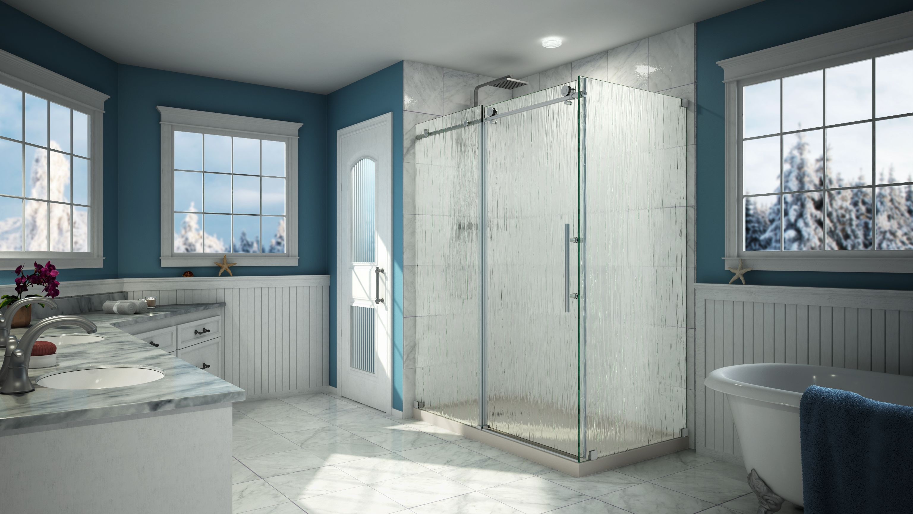 A Unique Shower Look With Rain Inspired Glass Rain Glass