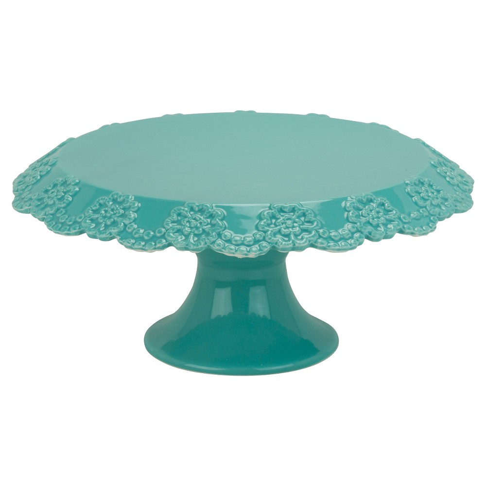10 Strawberry Street Lace 12 Cake Stand - Turquoise, Cancun Aqua ...
