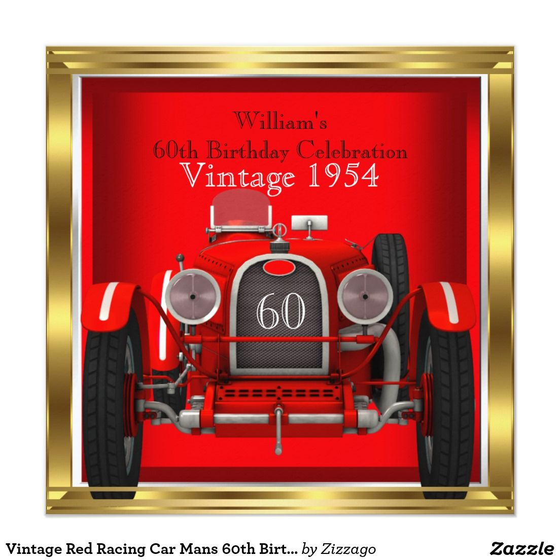 Vintage Red Racing Car Mans 60th Birthday Party 525 Square Invitation Card