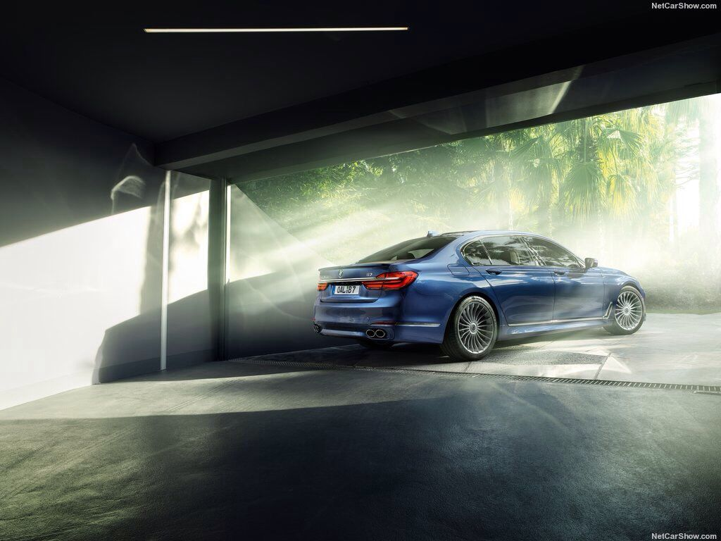 2017 BMW Alpina B7 xDrive.  The new 4.4 liter 8-cylinder engine with twin-turbo charging, gasoline direct injection and Valvetronic delivers an impressive output of 600 bHP between 5750 rpm and 6250 rpm, while the maximum torque of 590 lb-ft is available from 3000 rpm. The resulting performance figures are remarkable - the all-new BMW Alpina B7 xDrive accelerates in just 3.6 seconds from 0 to 60 mph, 0.8 seconds faster than its predecessor while reaching a top speed of up to 193 mph.