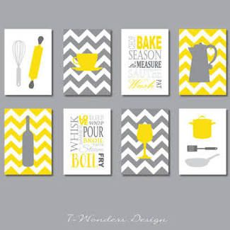 Gray And Yellow Kitchen Decor Google Search Kitchen Art Prints Modern Kitchen Art Yellow Kitchen Decor
