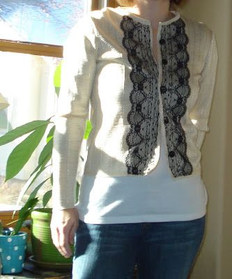 twobutterflies: The Ooh-La Lace Cardigan From pullover to cardigan with lace.