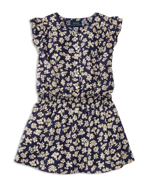 Ralph Lauren Childrenswear Girls' Flutter Sleeve Floral Dress - Sizes 2-6X