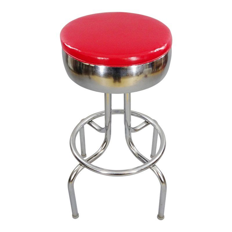 1940s Vintage Vitro Products Inc Chrome Swiveling Diner Bar Stool