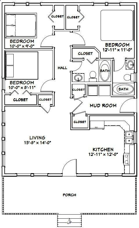 Build A Shed On A Weekend 12 000 Plans Shedplans 28x36 House 28x36h1q 1 008 Sq Ft Bedroom Floor Plans Small House Floor Plans House Floor Plans