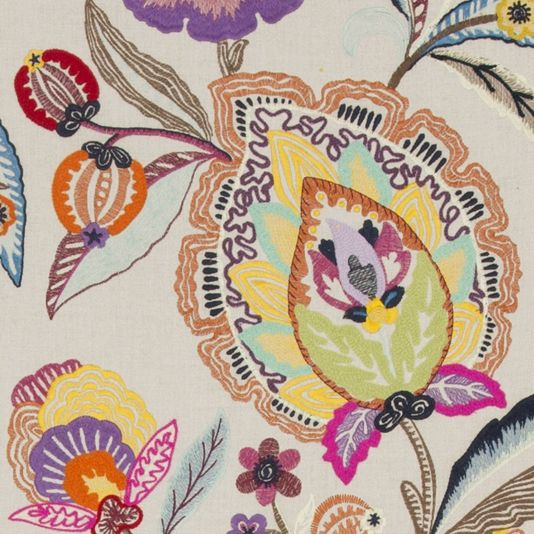 Oakwood Embroidered Fabric In 2020 Floral Curtains Fabric Floral Print Design