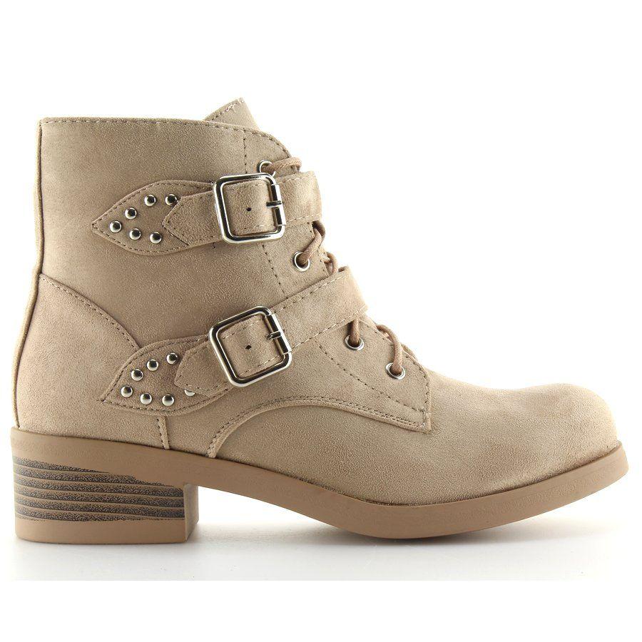 Botki Sznurowane Z Kokardkami Bezowe Beige Bezowy Boots Shoes Biker Boot